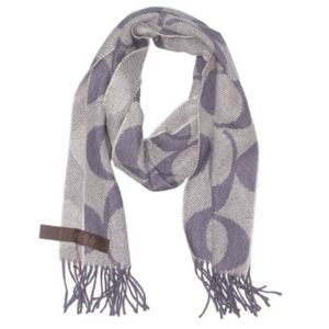 Coach Wool Cashmere Blend Fringed Scarf